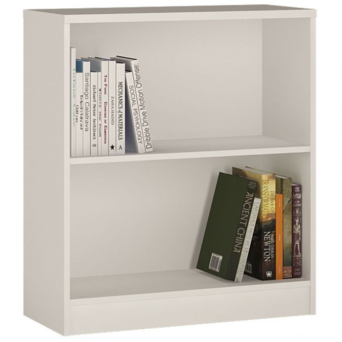 4 You Low Wide Bookcase in Pearl White / Sonama Oak